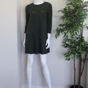 Dark Green Flared Sweater Dress (M)